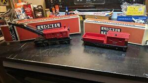 Lionel #6119 D.L.& W. Work Caboose Red + 6560-25 Bucyrus Erie Crane Car 8-wheel