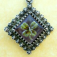 Antique Victorian Charles Horner Intaglio Reverse Painted Clover Sterling Charm