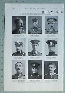 1914 WW1 Aufdruck Britische Rolle Von Honour Major Cawley Farbe Ansell Rochmond