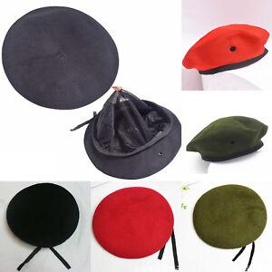 Women Men Plain Wool Warm Beret Hat French Style Beret Military Beanie Hat Caps