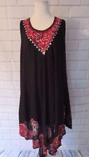 NWT Riviera Sun Dress Sz 1X Black Red Sequins Wave Hem Sleeveless Tunic Flowy