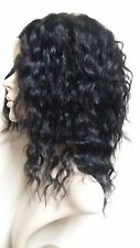 12 INCH INDIAN REMY HUMAN HAIR U PART WIG WAVY HANDMADE MEDIUM CAP BLACK 1B