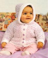 "Popcorn Stitch Hooded Baby Jacket 16"" - 22"" ~  DK Knitting Pattern"
