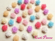"""3D Nail Art Craft Acrylic Small 5mm """"Roses"""" Flowers Flat Back Tip Embellishments"""