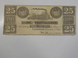 Civil War Confederate 1861 25 Cents Note Bank Of Tennessee Nashville Paper Money