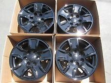 "17"" chevy tahoe suburban silverado 6lug new gloss black wheels rims set 4 caps"