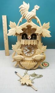Late Model Hand Carved Hubert Herr Cuckoo Clock Germany - No Weights & repaired