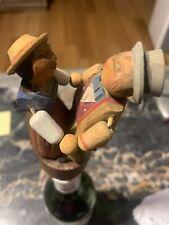 Vintage Anri Bottle Stopper Cork Carved Wood Mechanical Dancing Kissing Couple