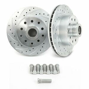 """2 MUSTANG II FORD BIG 11"""" DISC BRAKE ROTORS CROSS DRILLED & SLOTTED STREET ROD"""