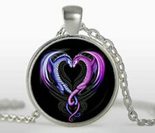 Dragon Heart Necklace Silver Cabochon Glass Love Chain Wedding Birthday Gift