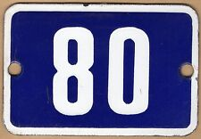 Cute old blue French house number 80 door gate plate plaque enamel metal sign