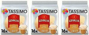3 x Packs Tassimo Gevalia Cafe Con Leche Café Au Lait T Discs Pods - 48 Drinks