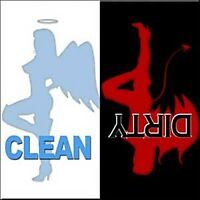 Clean / Dirty Devil / Angel steel fridge magnet (cv)