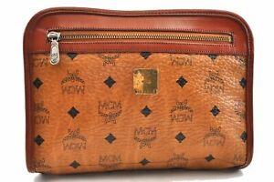 Authentic MCM Cognac Visetos Leather Vintage Clutch Hand Bag Brown 0045A