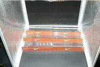 NIKE SHOE SLAT WALL DISPLAY SHELF LOT 6 ORANGE WHITE SWOOSH LUCITE!!! WOW!!!