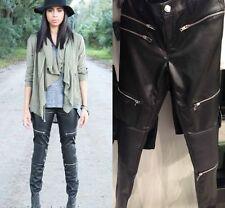 ZARA Faux Leather Slim, Skinny, Treggings Mid Women's Trousers