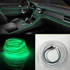 4 Green LED Car Ambient Light Panel Door Decorative Lamp Line + 4m Optical Fiber
