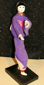 "Vintage Asian Composition Gofun Ichimatsu Geisha Doll in Kimono 8"" w/Stand"