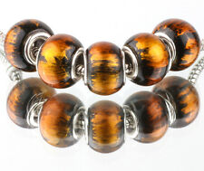 5P European Silver CZ Charm Beads Fit sterling 925 Necklace Bracelet Chain #D641