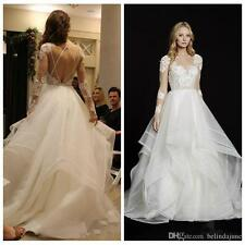 Long Sleeves A-Line Wedding Dresses Ruffles Bridal Gowns Custom Online