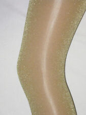 Gold Glitter White Ladies Tights. 10-16 NEW Sparkly Pantyhose Party Xmas