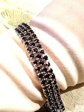 Vintage Genuine Dark Blue Sapphire 925 Sterling Silver Deco Tennis Bracelet