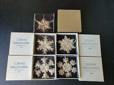 (5) Gorham Sterling 1971 1972 1976 1977 and 1978 Snowflake Christmas Ornaments