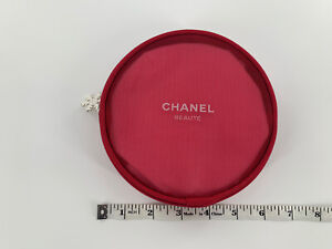 Chanel Pink Cosmetic Makeup Perfume Travel Case New Without Tags Round Zipper