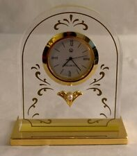 Vintage Lucite Brass Pearl Mikimoto Desk Clock FREE US SHIPPING