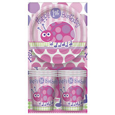 25 Piece Pink Ladybug Girls Happy 1st Birthday Party Tableware Pack Kit for 8