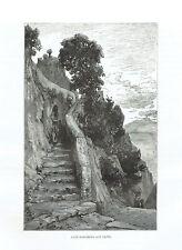 SCALA FENICIA CAPRI - Incisione Originale 1876