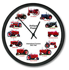 "New INTERNATIONAL Farmall 1923-196 Wheel Dial Clock 12 Tractors 10"" ORCHARD"
