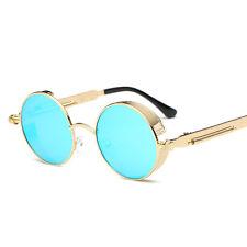 New Vintage Polarized Steampunk Sunglasses Fashion Round Mirrored Retro Eyewear