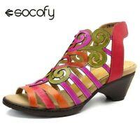 Socofy Femme Creux Cuir Véritable Sandales Talon Bas Souple Crochet Boucle Shoes