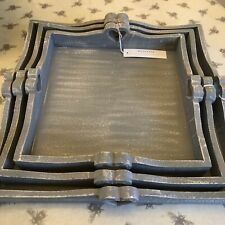 Rustic Chic Wooden Square Grey Tray with Heart Detail in 3 sizes