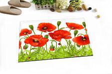 Poppy Flowers Green Leaves Ladybug Kitchen Bathroom Bath Door Floor Mat Bathmat