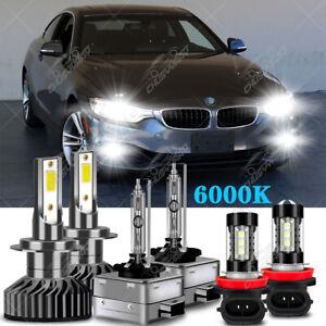 For BMW 428i 435i 2014 2015 2016 LED HID Xenon Headlight Hi / Lo+Fog Light Bulbs