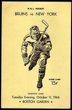 Oct 11, 1966 Bruins Vs Rangers Program Bobby Orr #27 on Roster 1st Career Game