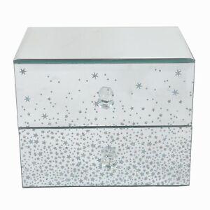 Silver Glitter Mirror Two Drawer Lined Jewellery Trinket Box