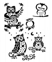 STENCILS CRAFTS TEMPLATES SCRAPBOOKING BIRDS OWLS 2 STENCIL - A4 MYLAR