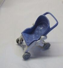 FISHER PRICE Loving Family Dollhouse STROLLER Folding Baby Pram Periwinkle RARE!