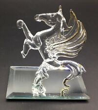 Stunning Glass Pegasus Gold Accents On Wings &Hooves Glass Baron? Mirrored Base