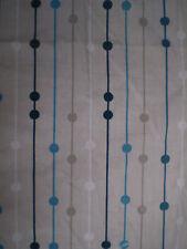 Retro BLUE & BROWN GEOMETRIC STRIPE & SPOT PRINT Fabric Remnant (100cm x 50cm)