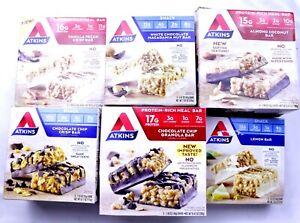 50 Atkins Bars Protein Low Carb Lemon Vanilla Pecan Almond Chocolate Chip +