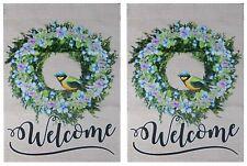 "Welcome (Wreath Bird) 12.5""x18"" Double Sided Polyester Sleeve Garden Flag"