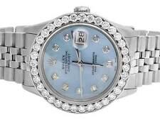 Mens Rolex Datejust Quickset 16014 Oyster 36 MM Blue Dial Diamond Watch 5.5 Ct