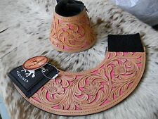 * Sale Pair Tooled Leather Pink Inlay Bell Boots Rodeo & Trails New Horse Tack