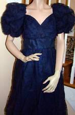 Vintage 1980s Scassi Dark Blue Dotted Tulle Gown Bergdorf Goodman Size 6-8