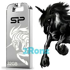 Silicon Power Unicorn T03 32GB 32G USB Flash Drive Disk Touch Horse Metal Silver