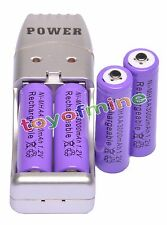 4 AA NiMH rechargeable battery + USB Charger MP3 purple